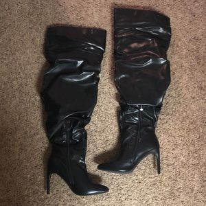 Over the knee faux leather boots w/heel